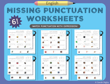 6 Double-Sided Missing Punctuation Worksheets (English)