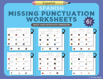 6 Double-Sided Missing Punctuation Worksheets (Spanish)