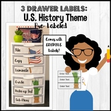 3 Drawer Cart Label U.S. History and Symbols Theme EDITABLE Set of 2