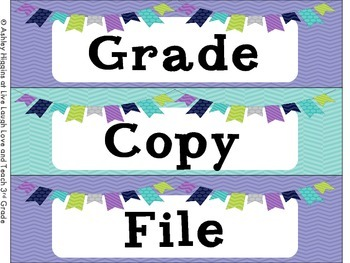 3 Drawer Labels (Grade, Copy, and File)