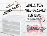3 Drawer Organizer Labels - Flamingo Themed