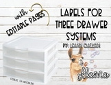 3 Drawer Organizer Labels - Llama Themed