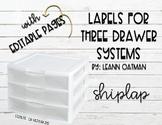 3 Drawer Organizer Labels - Ship Lap Themed