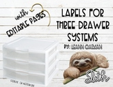 3 Drawer Organizer Labels - Sloth Themed