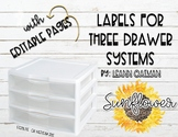 3 Drawer Organizer Labels - Sunflower Themed