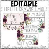 3 Drawer Sterilite Labels Editable | Floral Watercolor Classroom Decor