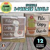 3 Drawer Sterilite Labels Editable - Llama Cactus Classroom Decor