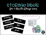 Storage Labels - for 3 drawer plastic organizers