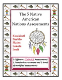 3 EDITABLE Native American Nations Assessments (Standard and Modified)