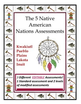 3 EDITABLE Native American Nations Assessments (Standard a