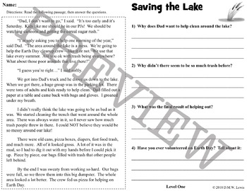 3 Earth Day Reading Comprehension Passages and Questions + Fluency