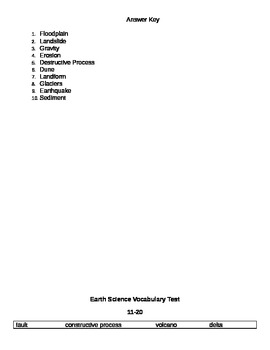 3 Earth Science Vocabulary tests