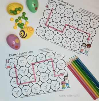3 Easter Bunny Math Mazes - Addition, Multiplication, and Division