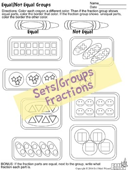 3 Equal/Not Equal Fractions Think Sheets - wholes, groups/sets, and number lines
