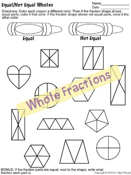 3 Equal/Not Equal Fractions Worksheets - wholes, groups/sets, and number lines