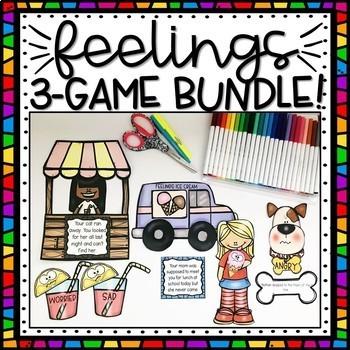 3 FEELINGS & EMOTIONS Scenarios Matching Games BUNDLE!
