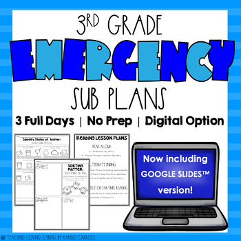 3rd Grade No Prep Emergency Sub Plans - 3 FULL DAYS of Substitute Plans
