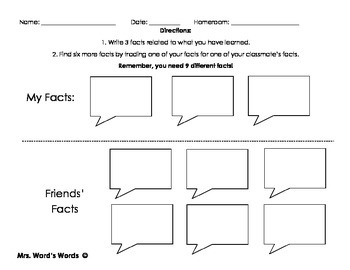 3 Fact Cooperative Learning Worksheet