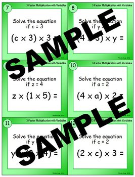 3-Factor Multiplication with Given Variables Task Cards