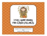3 Fall Game Boards for Closed Syllables