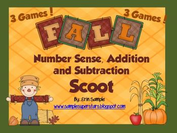 3 Fall Scoot Games - Number Sense, Addition, Subtraction