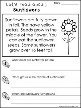 3 Fall themed Reading Comprehension No Prep Worksheets