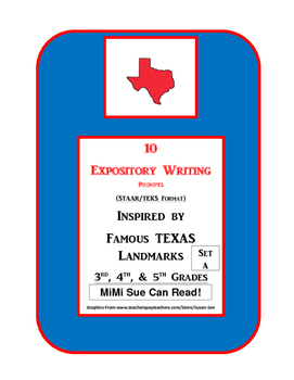 3 Famous Texas Landmarks Expository Writing Prompts STAAR 3rd 4th 5th SET A