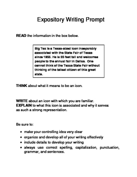 3 Famous Texas Landmarks Expository Writing Prompts STAAR 6th 7th SET A