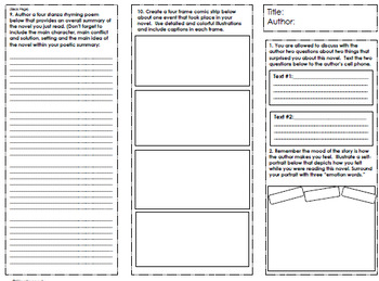 Trifold Fiction Book Report Project, #2 USE WITH ANY NOVEL