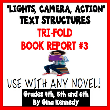 Trifold Fiction Book Report Project, #3 USE WITH ANY NOVEL