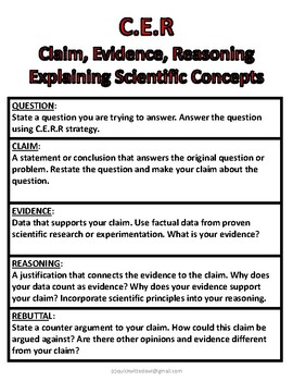 Food Webs Activity And Claim, Evidence, Reasoning