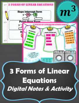 3 Forms of Linear Equations Digital Notes & Activity