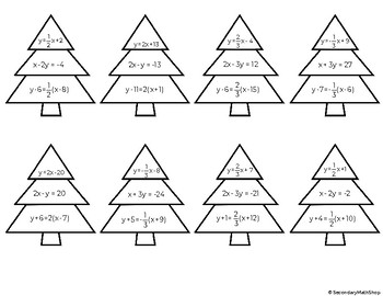 3 Forms of a Linear Equation Cut, Solve, Match and Paste Activity - 2 Designs!