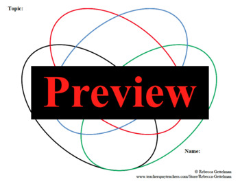 3 Four-Circle Venn Diagrams:  Color, Colored Outline, and Black & White