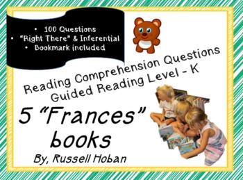 """""""Frances"""" books - Comprehension Question Bundle - Level K - Russell Hoban"""