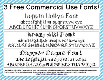 3 Free Super Cute Fonts!