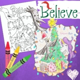 3 Free Unicorn Christmas Holiday Coloring Pages for Kids