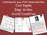 3 Full Days for 5th/6th grade/World Countries, Easy Writer, Civil Rights Themes