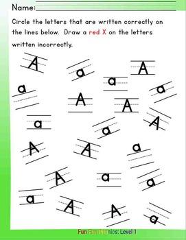 #3 Fun Fun Phonics (28 pages Aa, Bb, ab, ba) Complete Answer Key