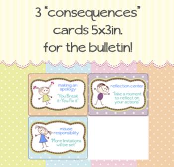 3 Fun polka dot/cartoon 5x3 notecard CONSEQUENCES for bull