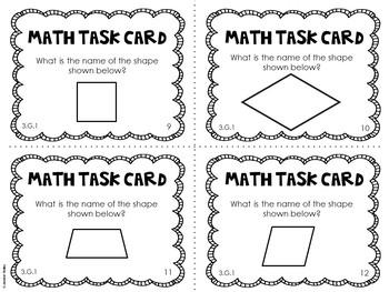 3.G.1 3rd Grade Math Task Cards (Quadrilaterals)