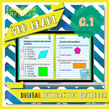3.G.1 Interactive Notebook: Shape Categories & Attributes for Google Classroom™