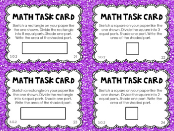 3.G.2 3rd Grade Math Task Cards (Partitioning 2-D Shapes)