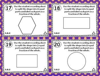 3.G.2 Task Cards: Partition Shapes Task Cards 3.G.2: Equal Areas Task Cards
