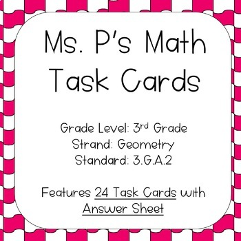 3.G.A.2 Partition Shapes Task Cards