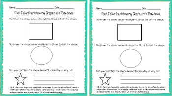 3.GA.A.2 Paritioning Shapes into Fractions Exit Ticket