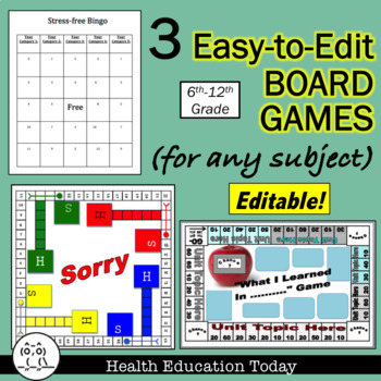 Board Games: 3 Easy-to-Edit Generic Games for Any Subject You Teach