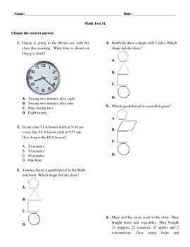 3 Grade Math Test #1