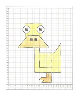 Coordinate Graphing Pictures: Eagle, Duck, Swan  cartoons.   All quadrant one