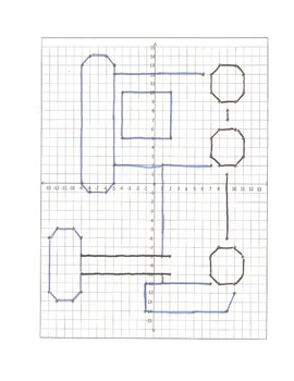 Coordinate Graphing Pictures: A train, truck, and jet: 4 quadrant/whole numbers